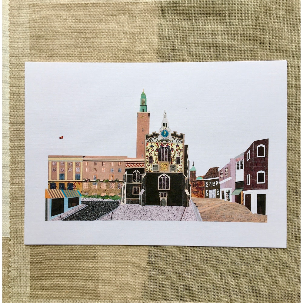 Soodle Street Illustrations 'guildhall Hill, Norwich' Recycled Paper Collage Print