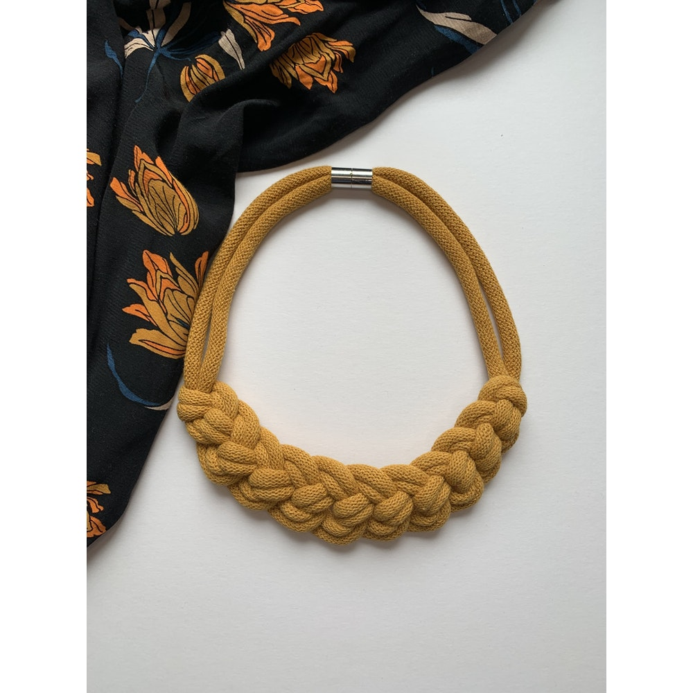 Form Norfolk Loop Knot Necklace In Mustard Yellow