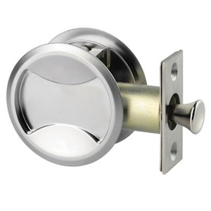 Lockwood Symmetry Round Cavity Sliding Door Passage Set Finished in Satin Chrome Pearl