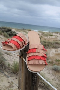 Tassel Slide Sandal, Natural Leather with Tangerine, Average/Narrow or Wide Fitting, Limited Edition.