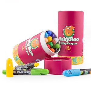 JarMelo SILKY WASHABLE CRAYON -BABY ROO -12 COLORS