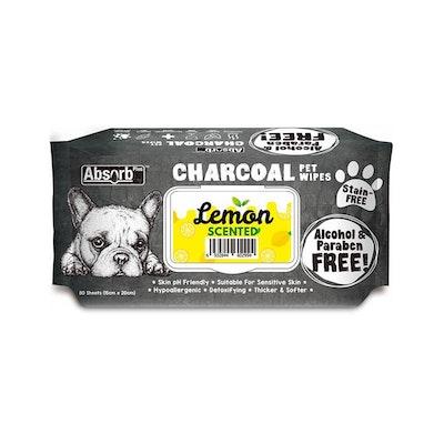 ABSORB PLUS Charcoal Pet Wipes Lemon 80 Sheets 20X15Cm