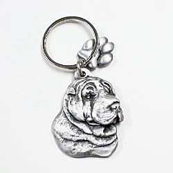 Key Companions Solid Fine Pewter Shar Pei dog with Paw Keychain