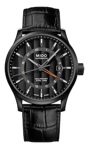 Mido Multifort Dual Time - Stainless Steel with Black PVD - Black Leather Strap