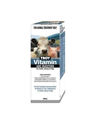 Troy Vitamin A D E for Cattle Sheep Pigs 500ml