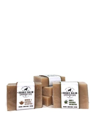 The Doggie Balm Co Natural Dog Soap Bar. Specially formulated for soft, smooth and radiant dog skin and coat.