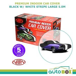 SAAS Premium Car Cover Large 5.0M Black with White Stripe