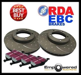 DIMPLED SLOTTED FRONT DISC BRAKE ROTORS+PADS for Toyota Landcruiser LJ70 Bundera