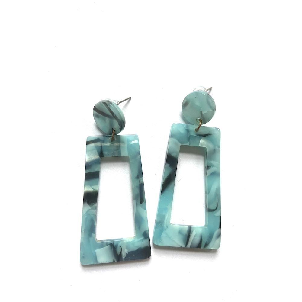 One of a Kind Club Blue And Black Chunky Acrylic Earrings