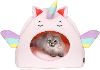 All Fur You All  Fur You Unicorn Cat Cave Cosy Indoor Cat Bed - 2 Colours