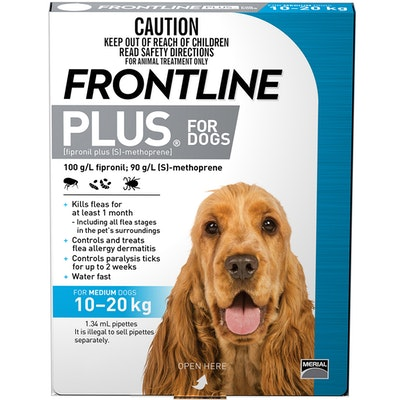 Frontline Plus Medium Dog 10-20kg Blue Topical Tick & Flea Control - 2 Sizes