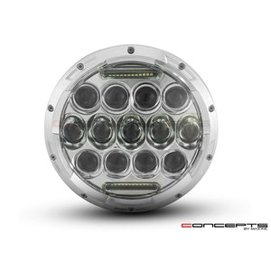 "7"" Chrome Multi Projector LED Headlight Insert with Daytime Running Light"