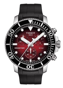 Tissot Seastar 1000 Chronograph Red with Black Rubber Strap