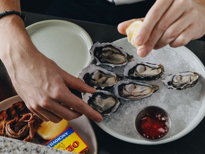 Dozen St Helen Oysters with Ponzu Dressing & Shallot Vinaigrette