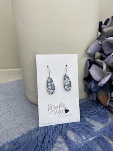 Floral Print Small Tear Drop Earrings on Sterling Silver Wires