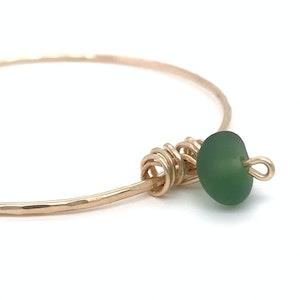 Green Seaglass Bangle - Gold