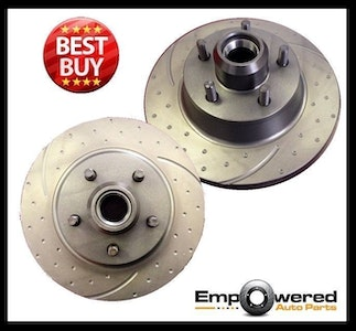 DIMPLED SLOTTED REAR DISC BRAKE ROTORS for Mazda RX7 Series 2 SA22C 1981-1983