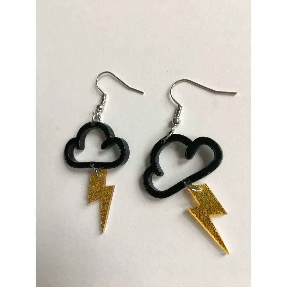 One of a Kind Club Black Cloud With Lightning Bolts Dangles