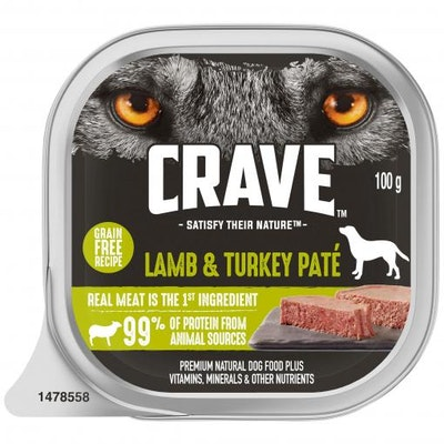 CRAVE Adult Lamb & Turkey Pate Wet Dog Food 100G