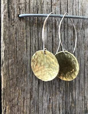 Sarah Munnings Jewellery Brass Hammered Disc Earrings