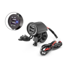 Handlebar Mount Twin USB Power Supply - 22mm - 25mm