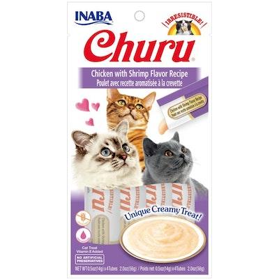 INABA® Churu Purée Cat Wet Treat – Chicken With Shrimp  14g X 4