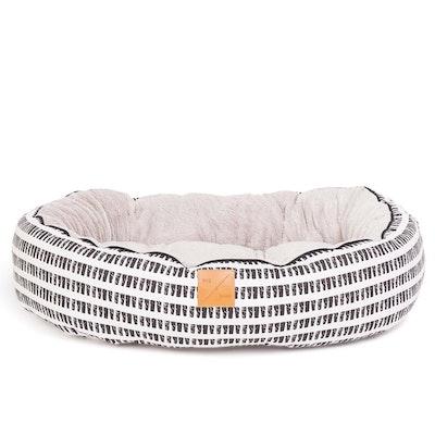 Mog & Bone 4 Seasons Dog Reversible Circular Bed Black & White Mosaic - 4 Sizes