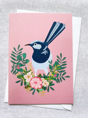 Holly & Bud Blank Illustrated bird and bloom greeting card