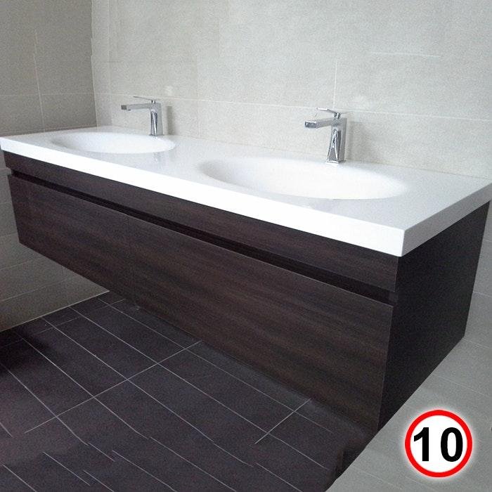 Double Bowl Vanity Tops For Bathrooms: Sannine Bathrooms NEW Corian Double Bowl