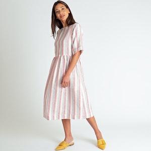 Linen Shift Dress, Vintage Stripe