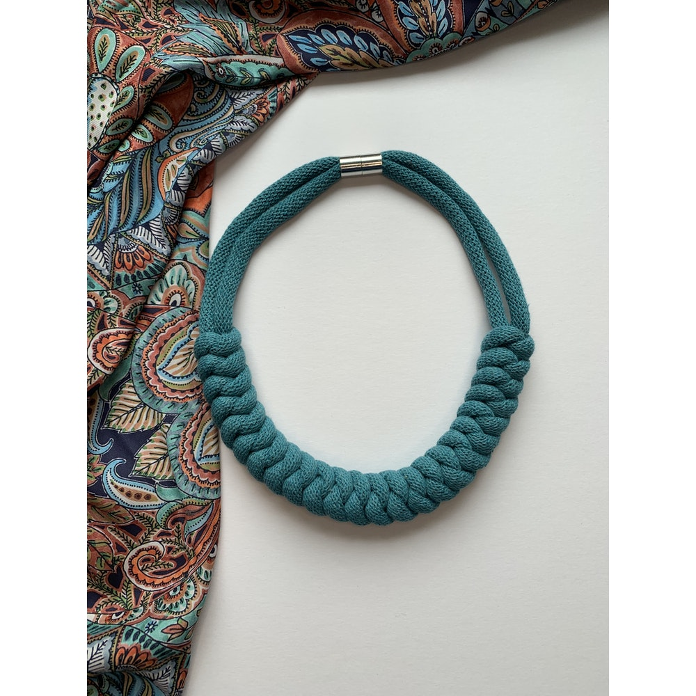 Form Norfolk Snake Knot Necklace In Teal Blue