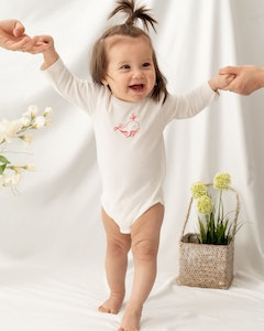 Certified Organic Cotton Dolphin Bodysuit - Natural White