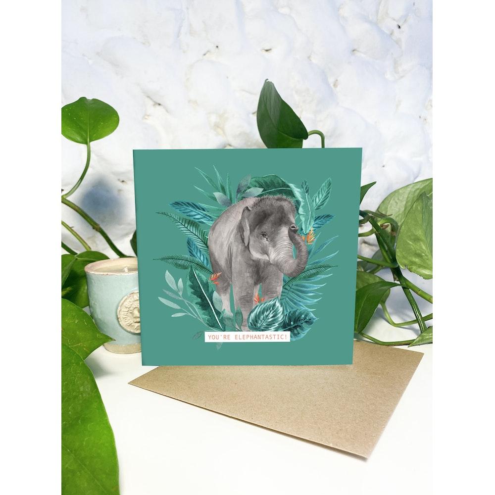 Laura Elizabeth Illustrations Elephant Greetings Card
