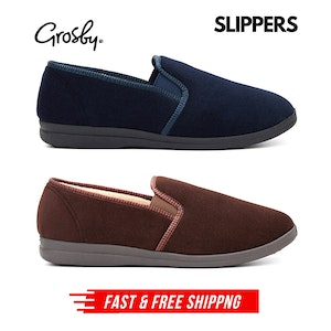 GROSBY Percy Mens Slippers Shoes Indoor Outdoor Casual Slipper Moccasins