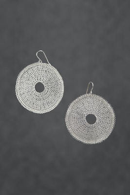 PAMdesigned Silver Plated Round Large Earrings - Andrea Earrings