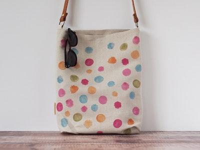 Printed linen tote bag - Wattle confetti