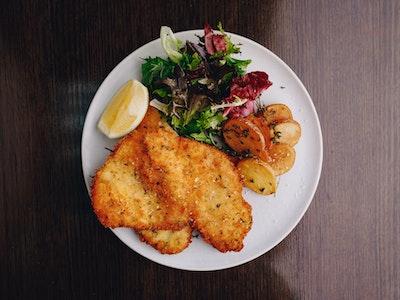 Chicken Cotoletta, Parmesan Herb Crumb, Crispy Potato, House Salad