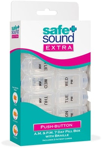Safe + Sound Extra Twice-Daily Push-Button 7-Day Pillbox Medicine Organiser