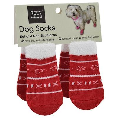 Zeez Non-Slip Dog Socks Cute Xmas Sweater Red/White - 4 Sizes
