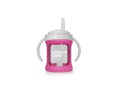 Wide Neck Glass Straw Cup with Colour Change Sleeve 150ml - Pink