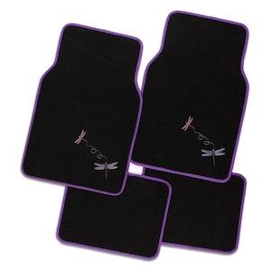 Dragonfly 4-Piece Car Mat - Purple