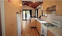 Cabin kitchen A Shady River Holiday Park Moama