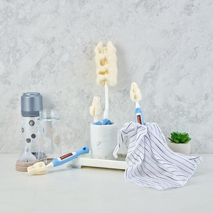 Mother-K Sponge Rolling Feeding Bottle Brush & Teat Set (Navy)