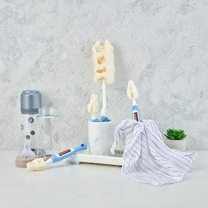 Mother-K Sponge Feeding Bottle Brush & Teat Set (Navy)