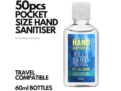 Boutique Medical 50x 60ml Pocket Hand Sanitiser Gel Anti-Bacterial 72% Alcohol Kills 99.99% Bacteria Travel BULK