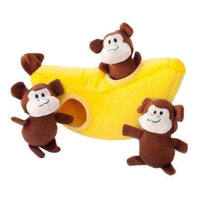 Zippy Paws Burrow Monkey N Banana Plush Dog Squeaker Toy 25 x 12 x 10cm