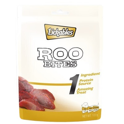 Lickables 1 Natural Roo Bites Dog Snack Chew Treats 100g