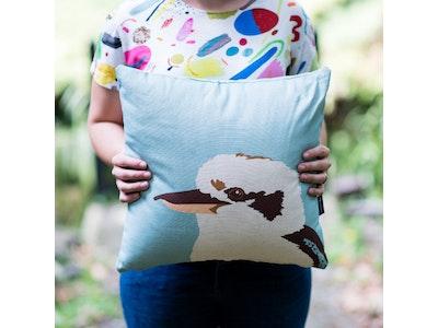 Kiki the Kookaburra Cushion Cover in Teal