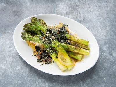 Roasted new season asparagus with kombu butter and furikake