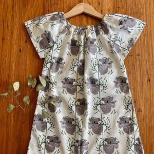 Koala dress - organic cotton peasant style